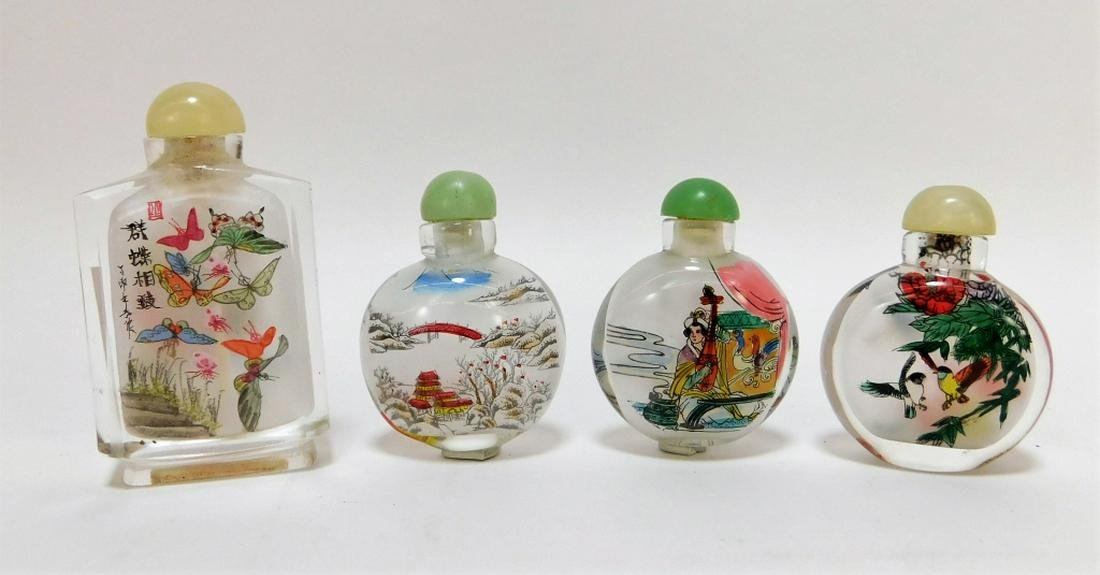 4PC Chinese Reverse Painted Glass Snuff Bottles