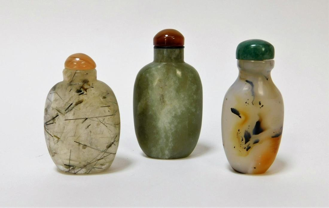 3PC Chinese Carved Hardstone Agate Snuff Bottles