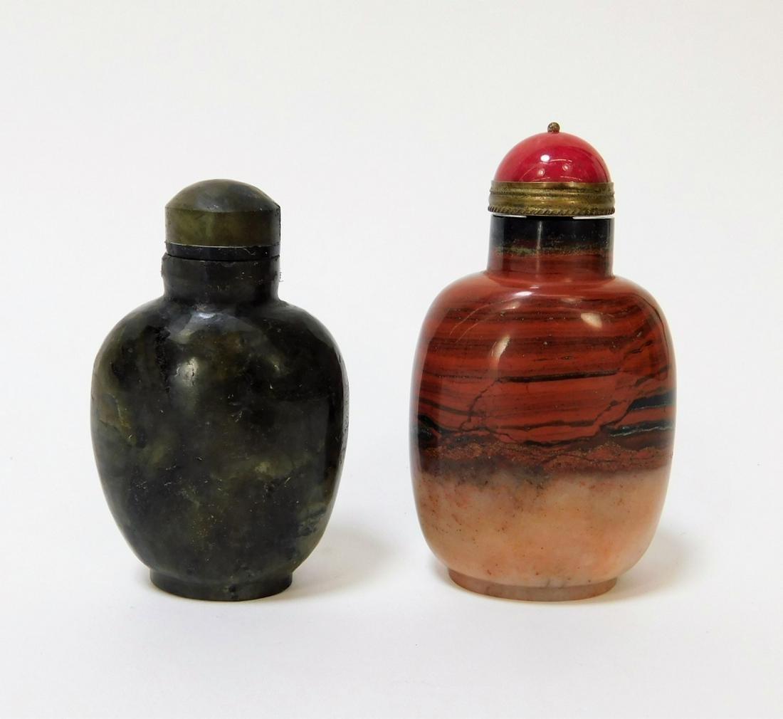 2 Chinese Agate Labradorite Hardstone Snuff Bottle