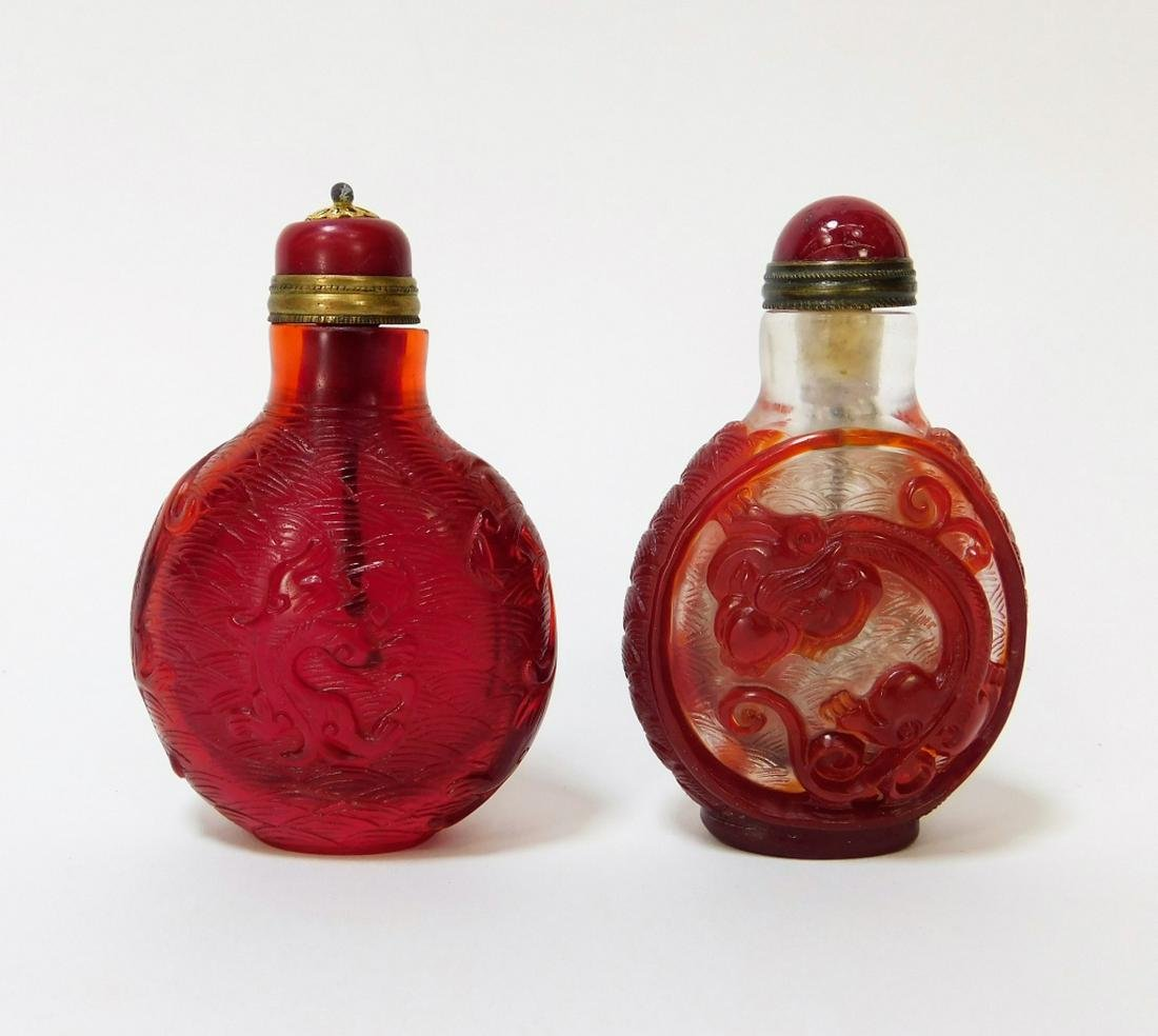 2PC Chinese Red Peking Glass Snuff Bottles