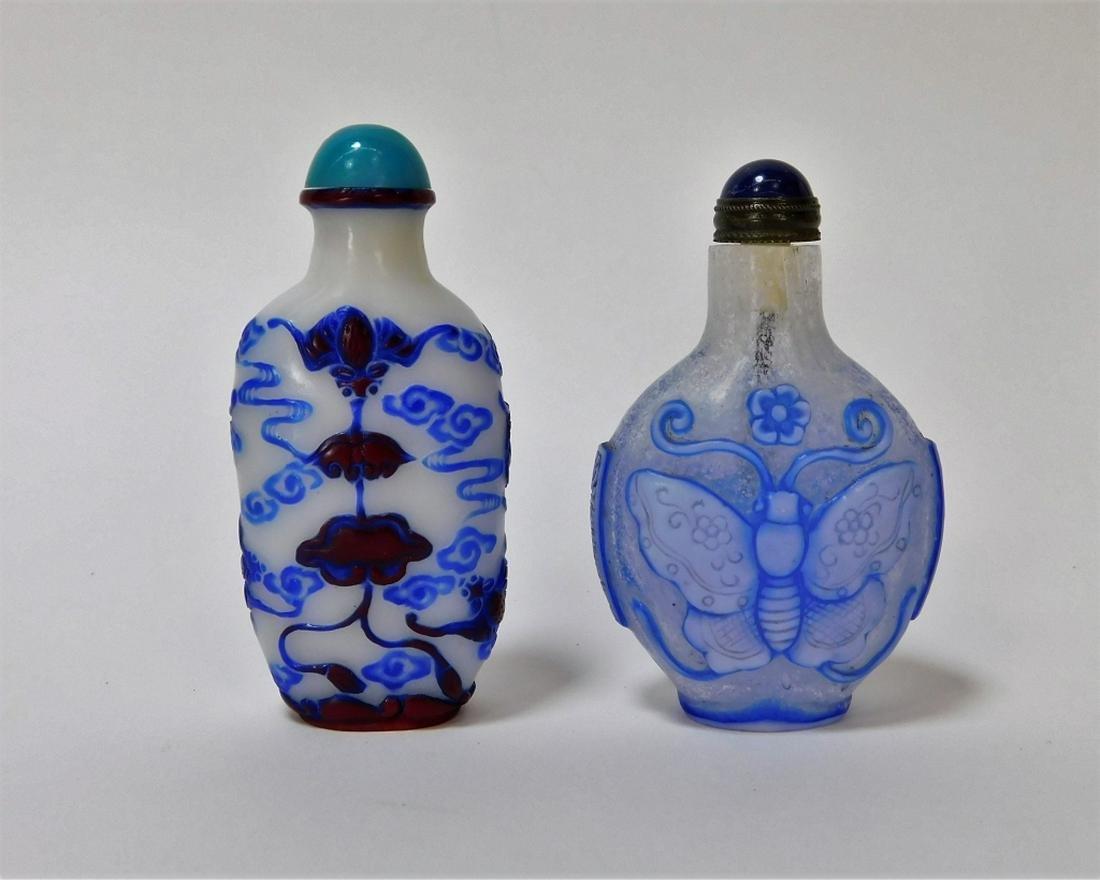 2PC Chinese Overlay Peking Glass Bat Snuff Bottles