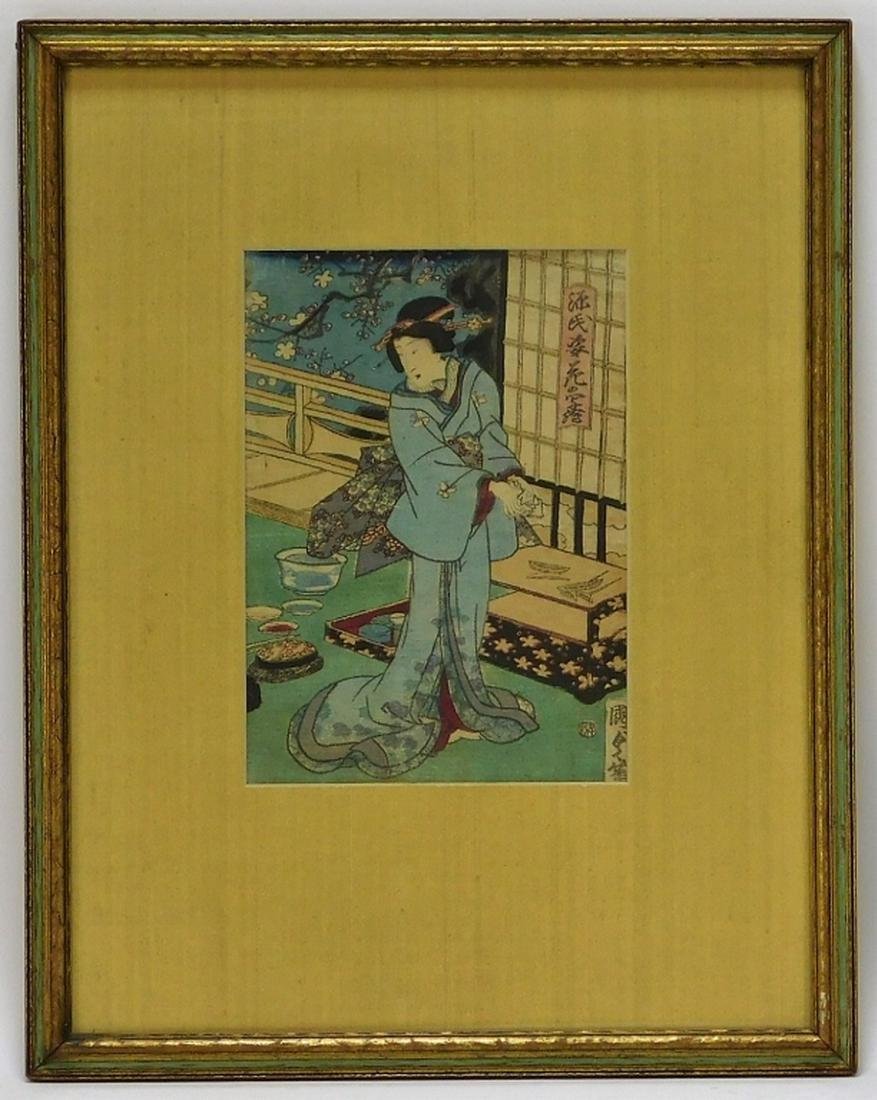 Utagawa Kunisada Interior Woodblock of Geisha