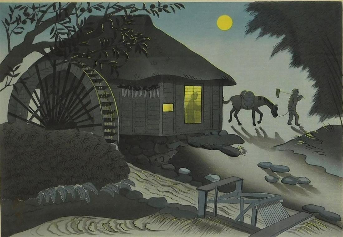 Bakufu Ohno Nocturnal Water Mill Woodblock Print