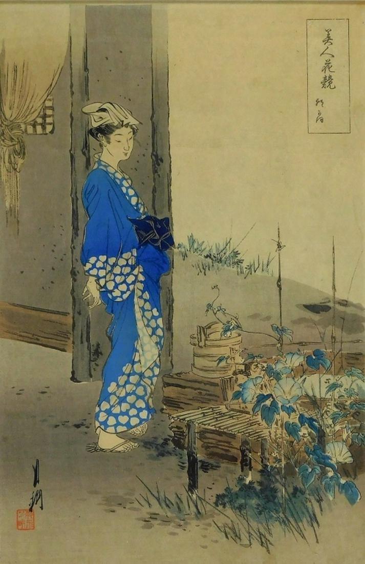 Gekko Ogata Woodblock of Woman in Botanical Garden