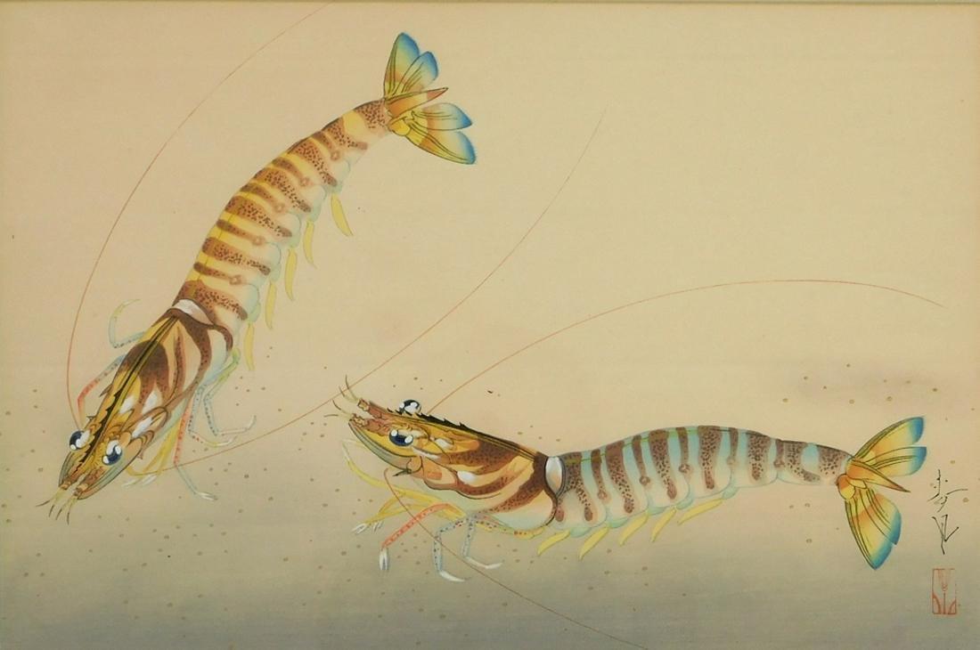 Ohno Bakufu Ukiyo-e Woodblock of Two Prawn Shrimp