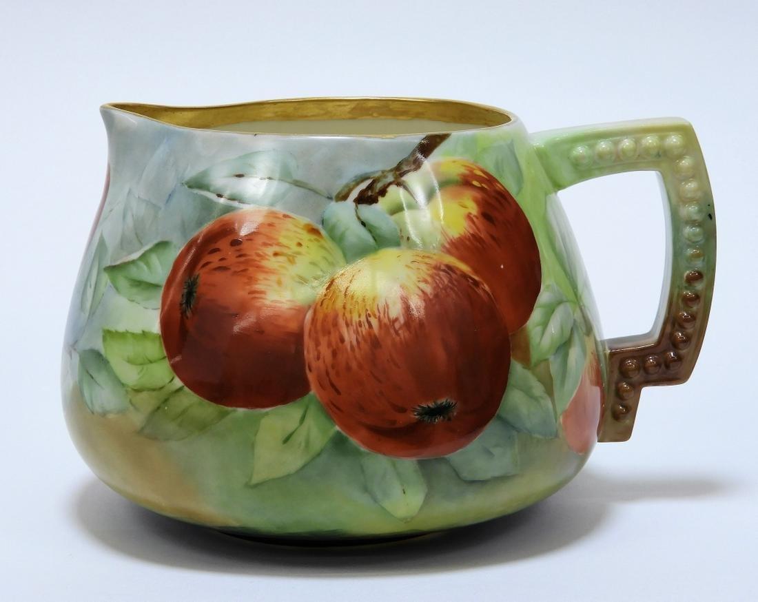 American Belleek Porcelain Apple Decorated Pitcher