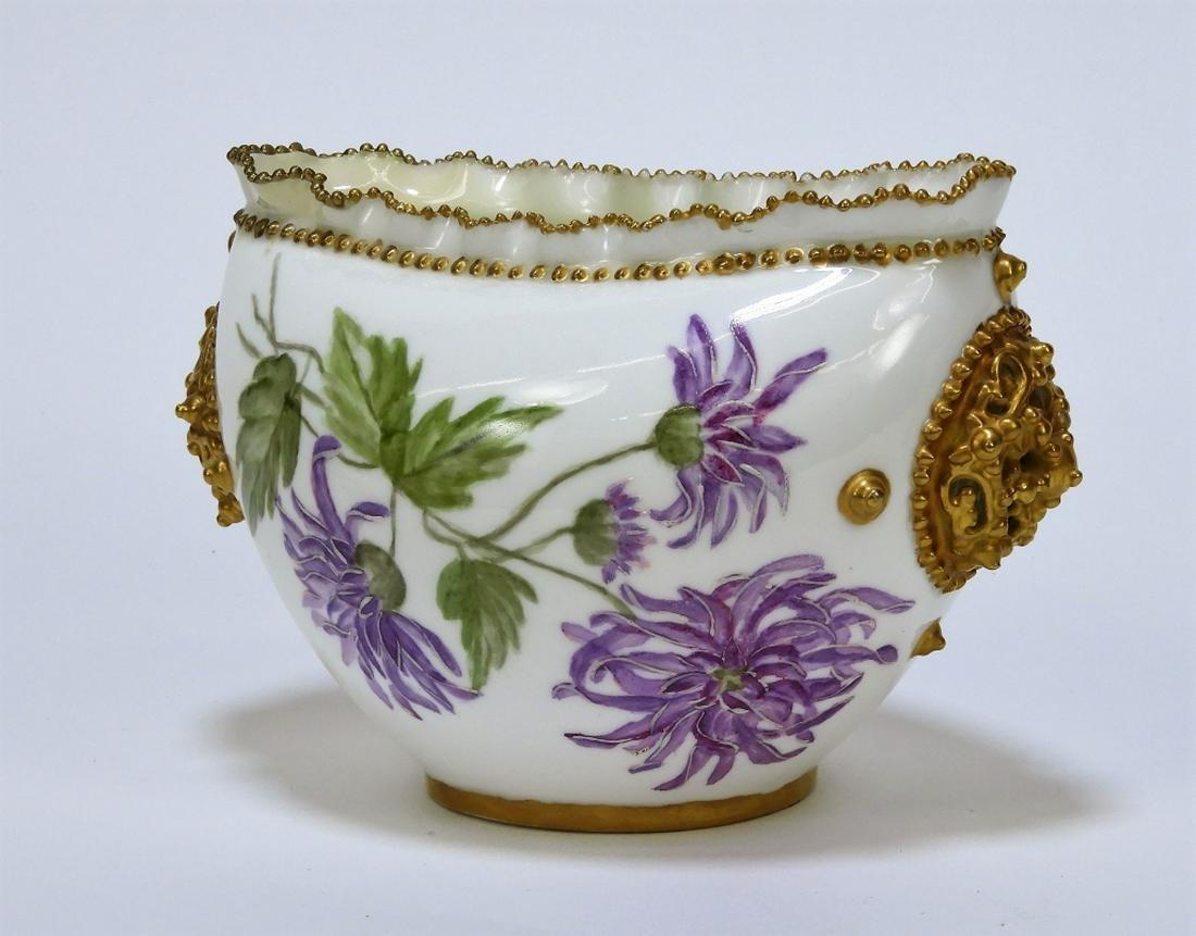 Lotus Ware Chrysanthemum Reticulated Handle Vase