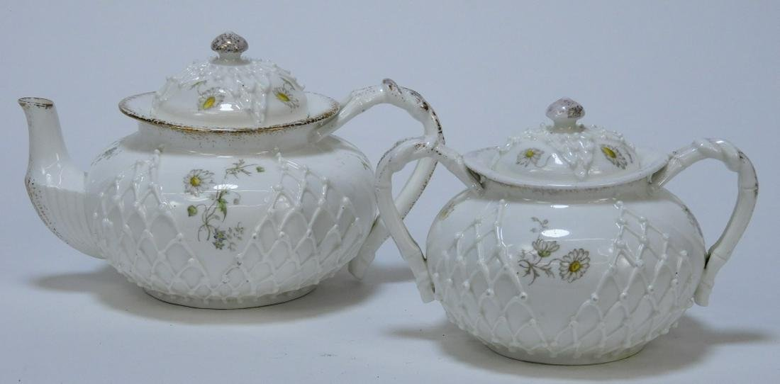 2PC Lotus Ware Porcelain Teapot & Sugar Bowl Set