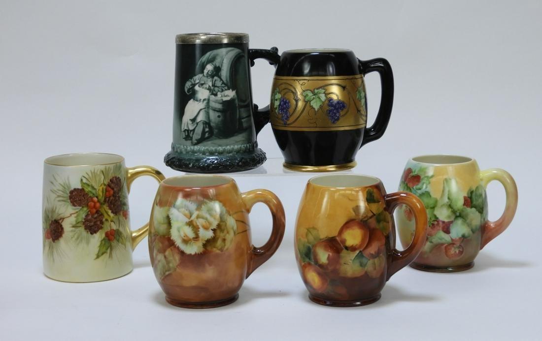 6PC American Belleek Nature's Pleasures Mugs
