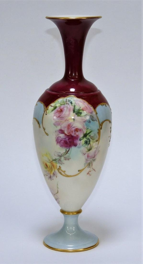 Elegant American Belleek Blue & Pink Peony Vase