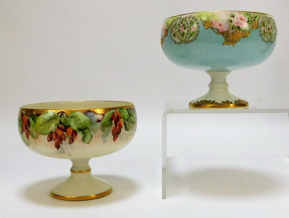 2 American Belleek Porcelain Floral Center Compote