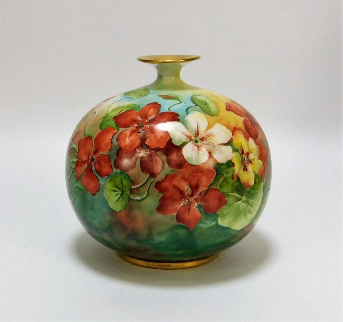 American Belleek Globular Floral Lily Pad Vase