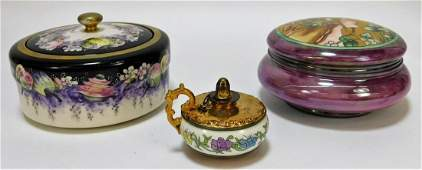 3PC American Belleek Porcelain Powder Jar Oil Lamp