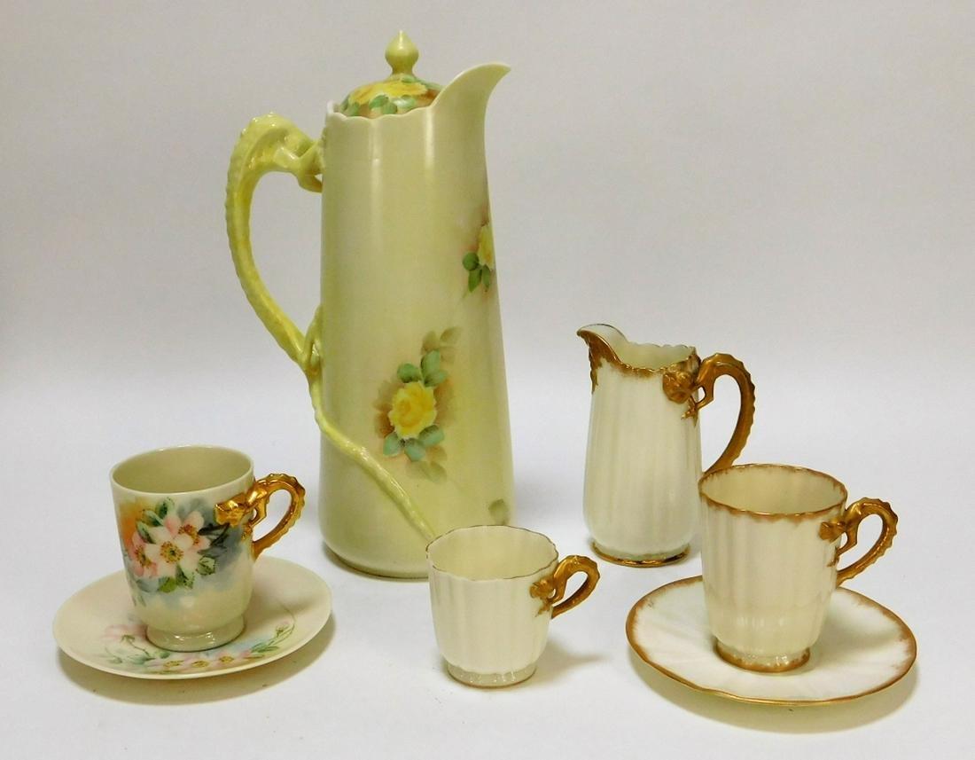 7PC American Belleek Gilded Dragons Teacups