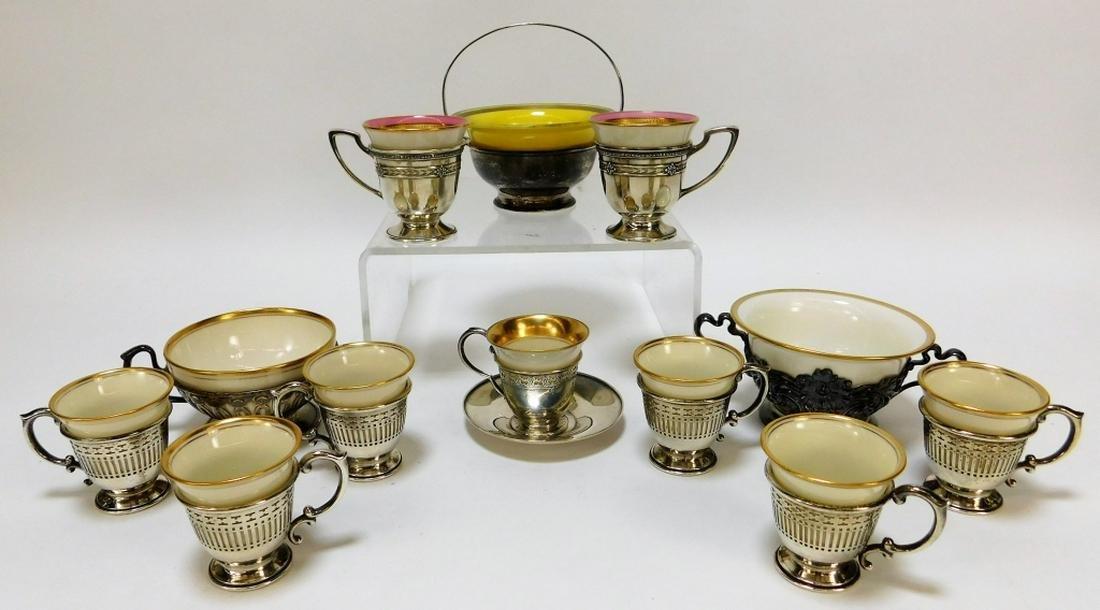 13PC American Belleek Silverplate Teacup Group