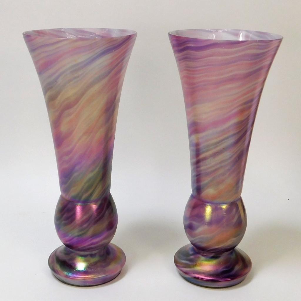 PR Welz Purple and Pink Bohemian Art Glass Vases