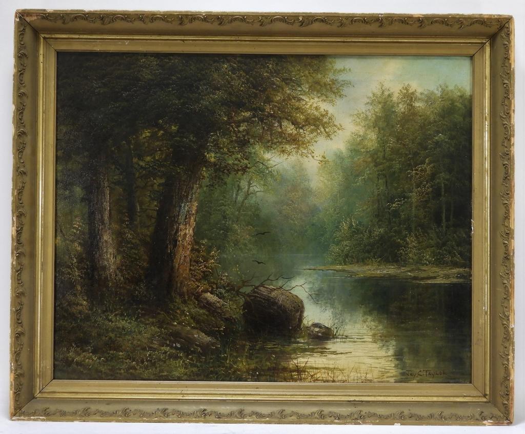 19C Jay C. Taylor Illuminated Forest O/C Painting