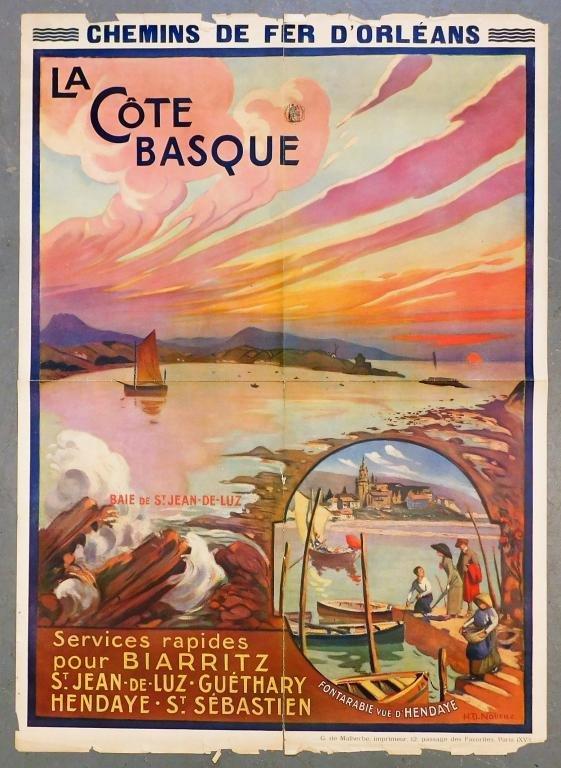 French Nourae La Cote Basque St Jean Travel Poster