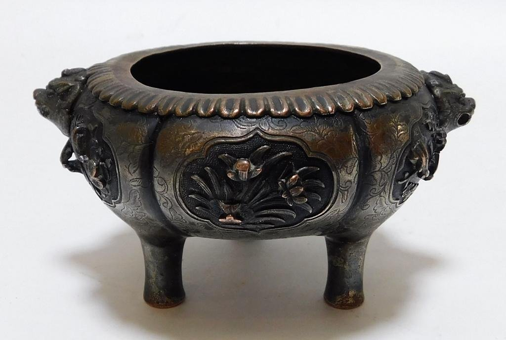 Chinese Qing Dynasty Bronze Tripod Censer