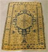 Chinese Blue Cream Floral Geometric Carpet Rug