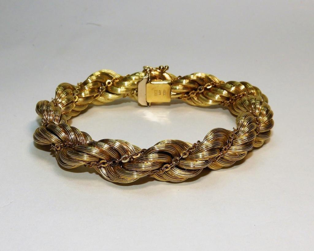 14K Gold Fancy Braided Rope Twist Bracelet 34.7g
