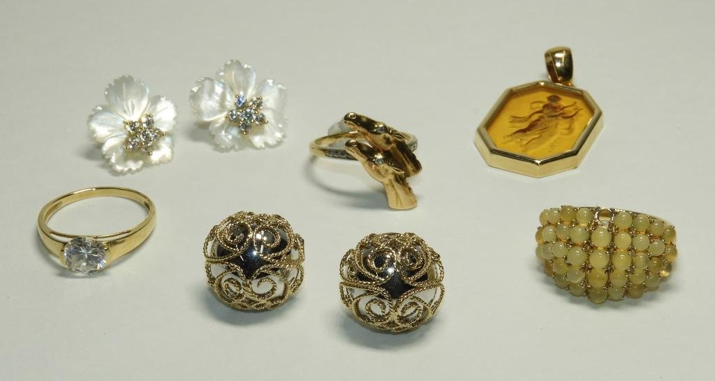 6PC Estate Fine Jewelry Ring Pendant Earring Group