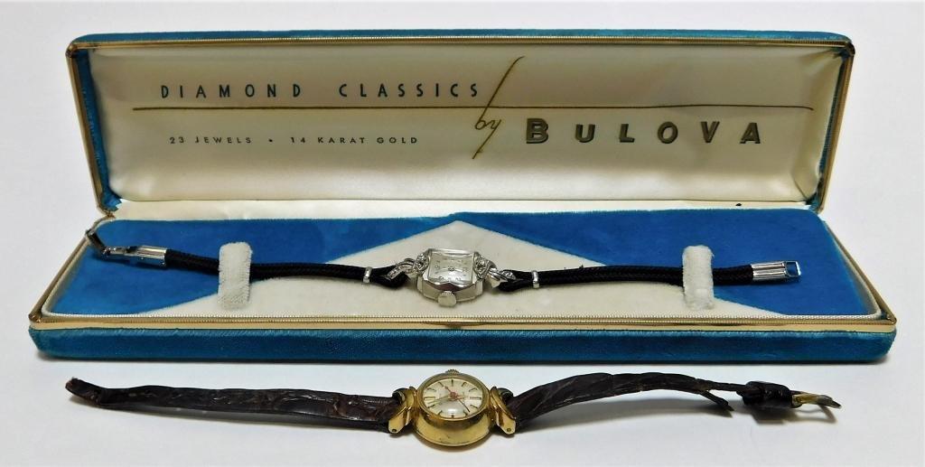 2PC Lady's Bulova 14K Cocktail Wrist Watches