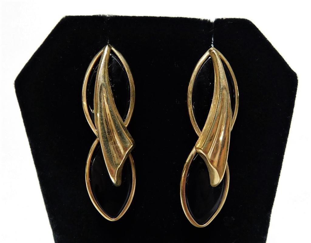PR 14K Gold & Onyx Geometric Earrings