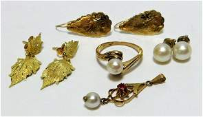 8PC Estate 14K Gold Pearl Jewelry Earring Group