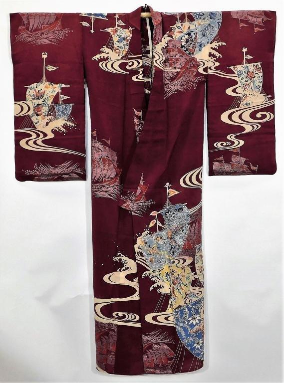 Meiji Period Boats and Flowers Furisode Kimono