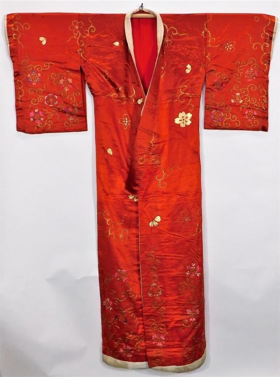 Edo Period Hand Embroidered Uchikake Kimono