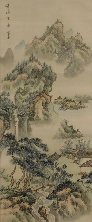Japanese Mountain Village Hanging Wall Scroll