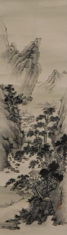 Japanese Mountain Hanging Wall Scroll Painting
