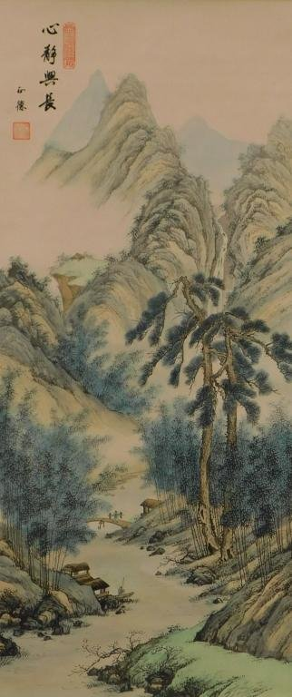 Japanese Landscape Hanging Wall Scroll Painting