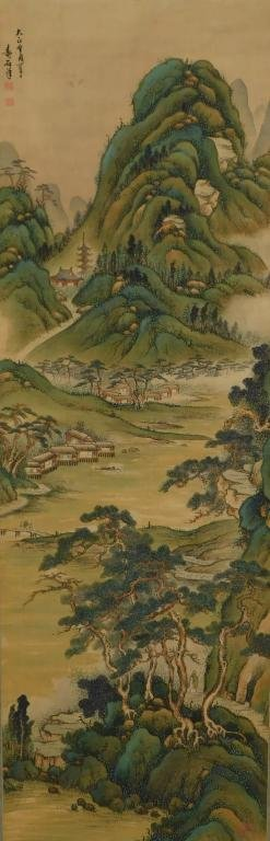 Japanese Vibrant Landscape Hanging Wall Scroll