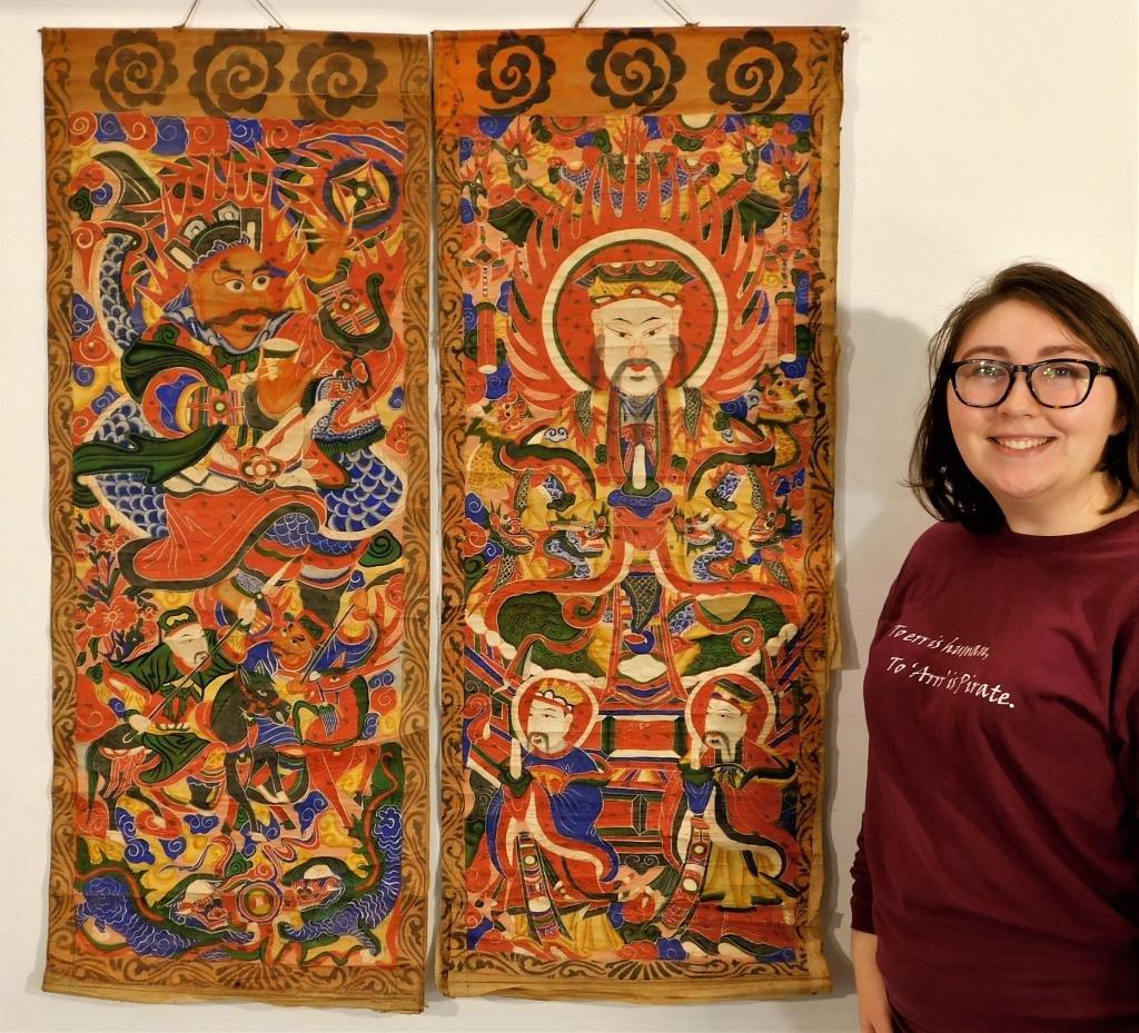 PR Antique Chinese Thangka Guru Rinpoche Paintings