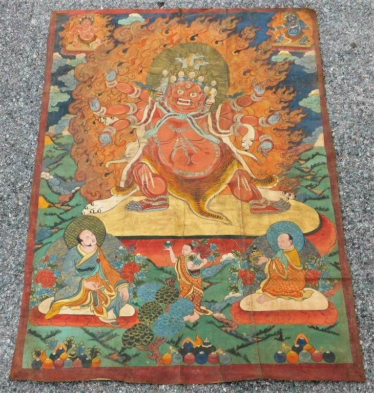 Tibetan Thangka Buddhist Painting of Hyagriva