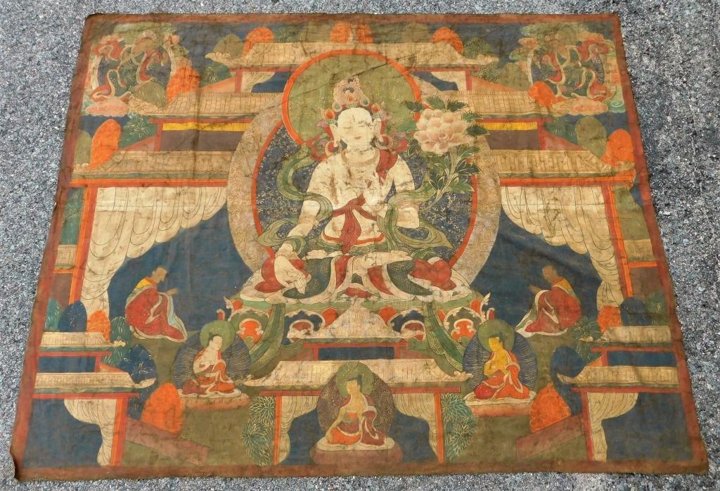 Tibetan Thangka Painting of White Tara Buddha