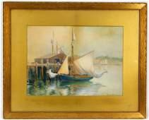Theodora Willard New England Harbor WC Painting