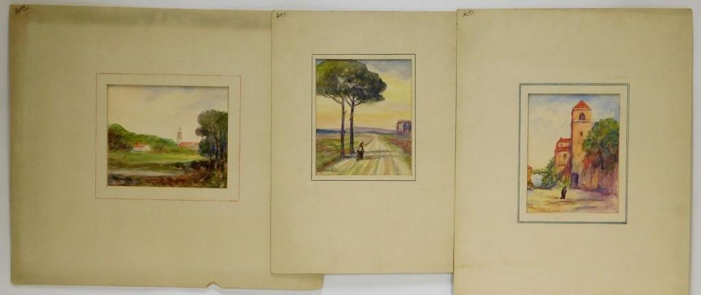 3 Domenico Riccitelli Landscape WC Paintings
