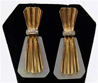 PR 14K Gold Ladys Art Deco Style Shell Earrings