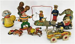 10PC Antique J Chein TPS Wind Up Tin Toys