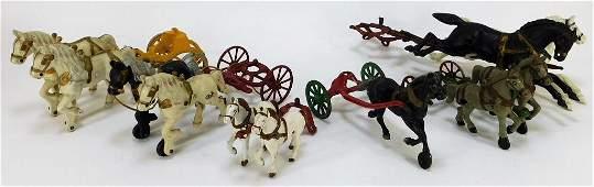 6PC Antique Cast Iron Horse Cart Attachment Group