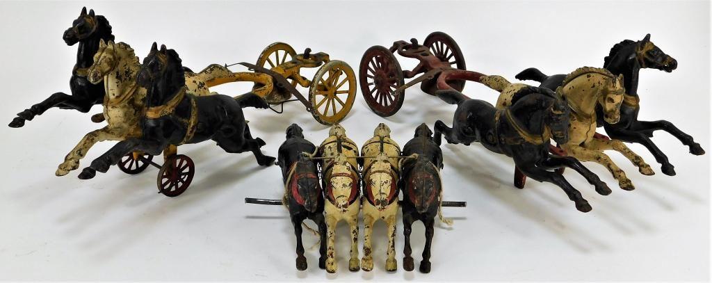 3 Antique Cast Iron Horse Carriage Attachments