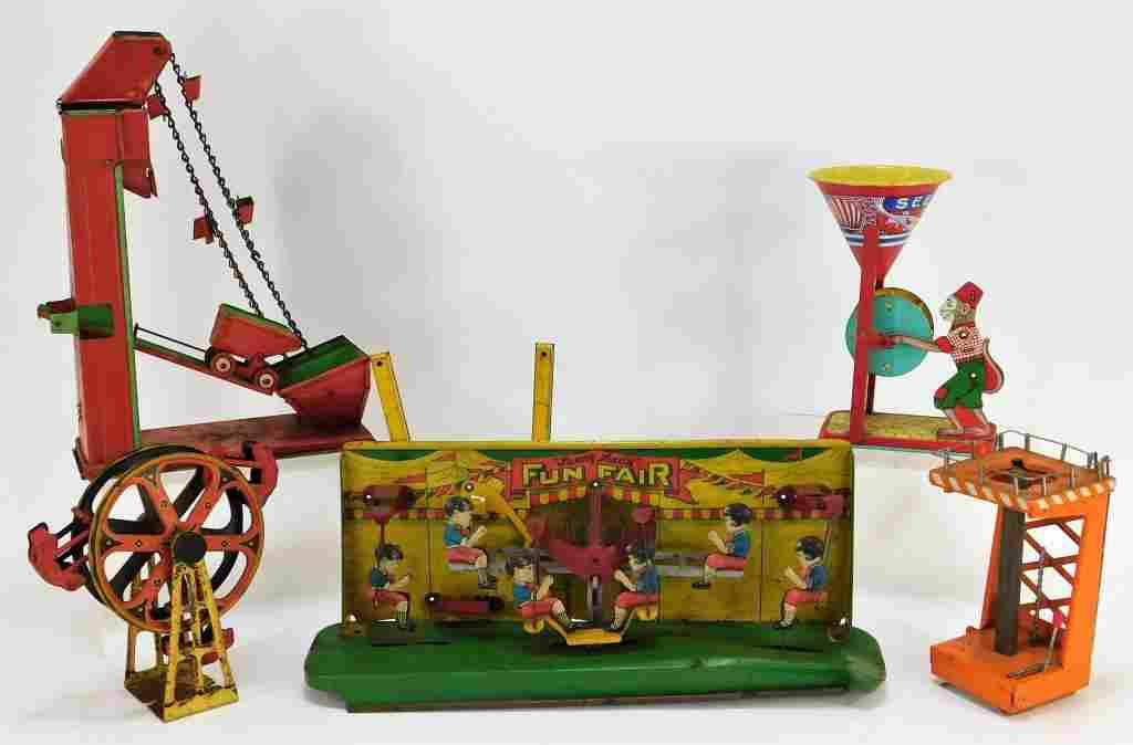 5PC Antique J. Chein Wolverine Tin Toy Group