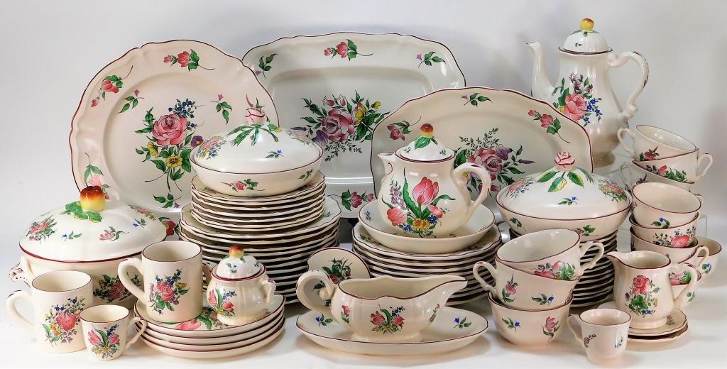 76PC Luneville Floral Rose Porcelain Dinner Set