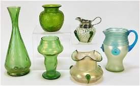 6 Loetz Austrian Bohemian Art Glass Vase Pitcher