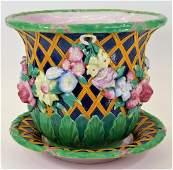English Minton Majolica Flower Basket Jardiniere