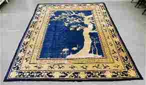 Antique Chinese Silk Blue & Ivory Pictorial Rug