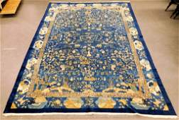 Antique Chinese Blue Silk Pictorial Auspicious Rug